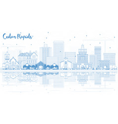 Outline cedar rapids iowa skyline with blue vector