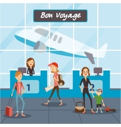 People fly on vacation travelers in the airport vector