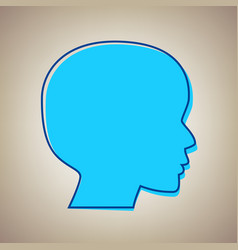 People head sign sky blue icon with vector