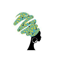 portrait african woman in turban shenbolen ankara vector image