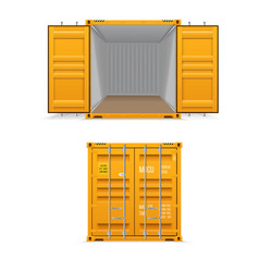realistic set of bright yellow cargo containers vector image