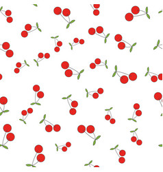 Red cherries flat seamless pattern on white vector