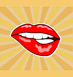 red woman sweet lips in pop art retro comic style vector image