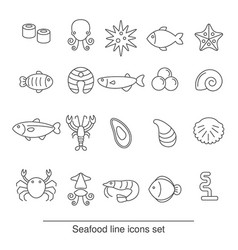Seafood line icons seafood line icons vector
