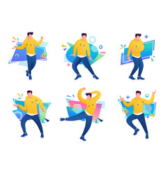 set characters of young people dancers vector image