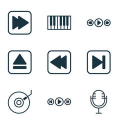 Set of 9 music icons includes audio buttons vector