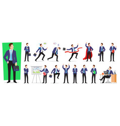set of character businessman employee with vector image