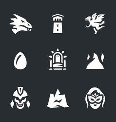 Set of fantasy story icons vector