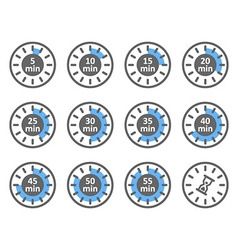 Set of icons time intervals vector image vector image