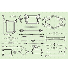 set of vintage calligraphic elements vector image