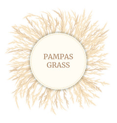 Silver golden pampas grass card template with copy vector