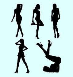 skinny woman gesture silhouette vector image