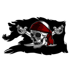 skull and sabers on a pirate flag vector image