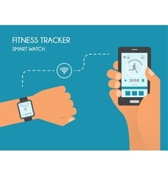 Smart Watch with Fitness application for health vector