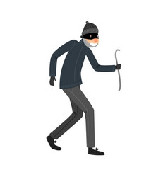 Sneaking thief in black clothes standing with the vector