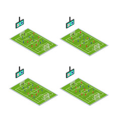 soccer stadium competition icons set isometric vector image