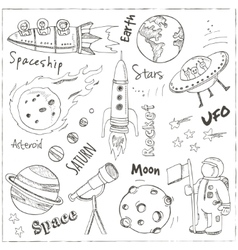 Space hand drawn doodles Stars planet and space vector