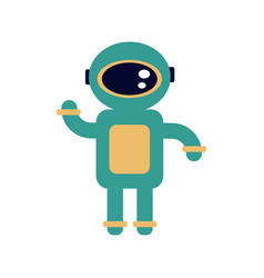 Spaceman in modern pressure suit out in space vector