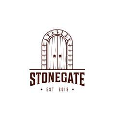 Stone gate logo design templatedoor with vector