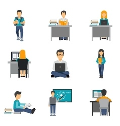 Student Flat Icons Set vector