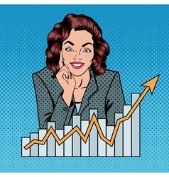 Successful Businesswoman and Arrow Graph Pop Art vector