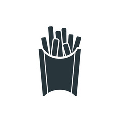 tasty fast food fries simple black icon on white vector image
