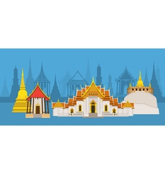 Thailand Temple or Wat Landmark vector