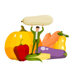 Tiny man vegeterian and healthy organic food vector