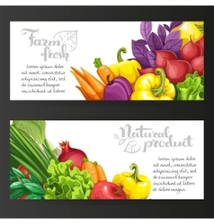 Two horizontal banners with fresh fruits and vector image