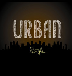 Urban word city silhouette vector