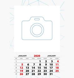 Wall calendar planner template for january 2020 vector