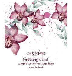Watercolor orchid flowers card vintage vector