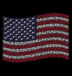 waving american flag stylization of pistol gun vector image