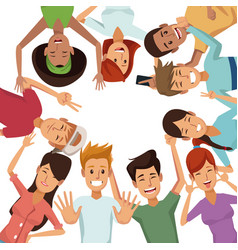 White background with colorful group of friends vector
