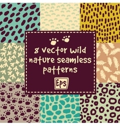 Wild nature seamless patterns set vector image