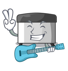 With guitar pastry scraper on wooden mascot table vector