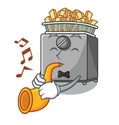 With trumpet cooking french fries in deep fryer vector