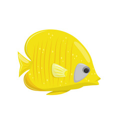 yellow fish on white background water life vector image