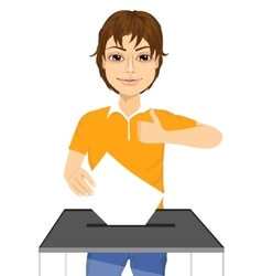 young man putting ballot in vote box vector image