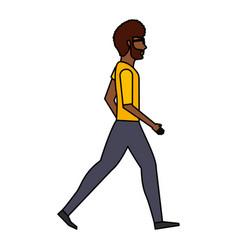 Young man walking character vector