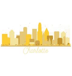 charlotte north carolina usa city skyline golden vector image