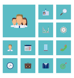 flat icons costume goal office and other vector image vector image