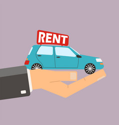 Hands hold car for rent buying or rent car vector