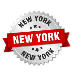 new york round silver badge with red ribbon vector image