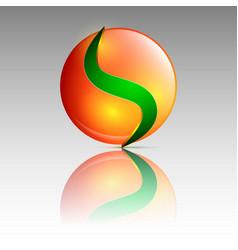 orange and green circle logo vector image