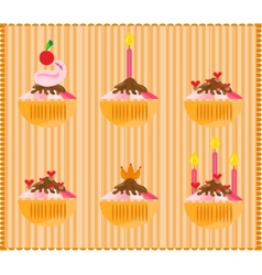 Sweets on striped background vector image vector image