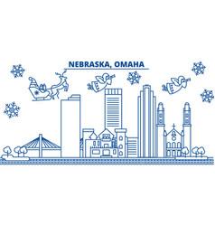 usa nebraska omaha winter city skyline merry vector image