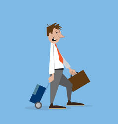 a man walks with suitcase vector image