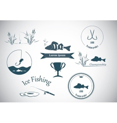 Fishing labels and design elements vector image vector image