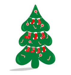 the christmas tree is decorated with sweets and vector image vector image